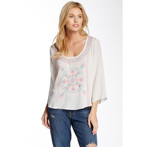 Flying Tomato Embroidered White Boho Top S